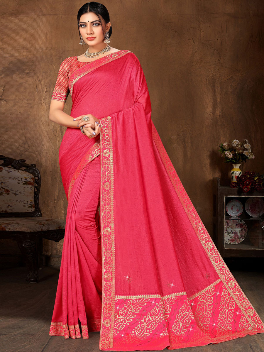 Cerise Pink Vichitra Silk Plain Casual Saree