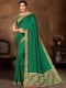 Hunter Green Vichitra Silk Plain Casual Saree