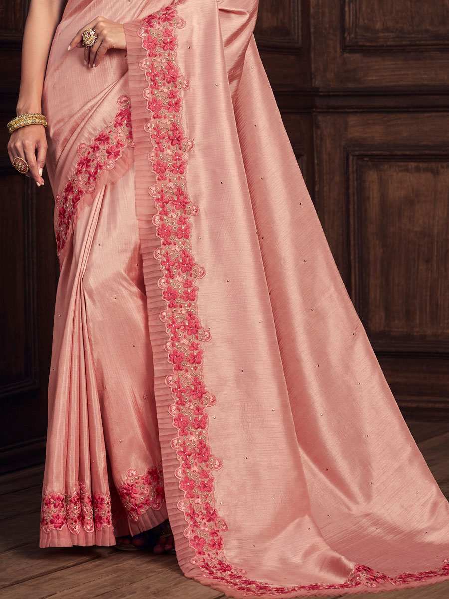 Light Pink Silk Embroidered Party Saree