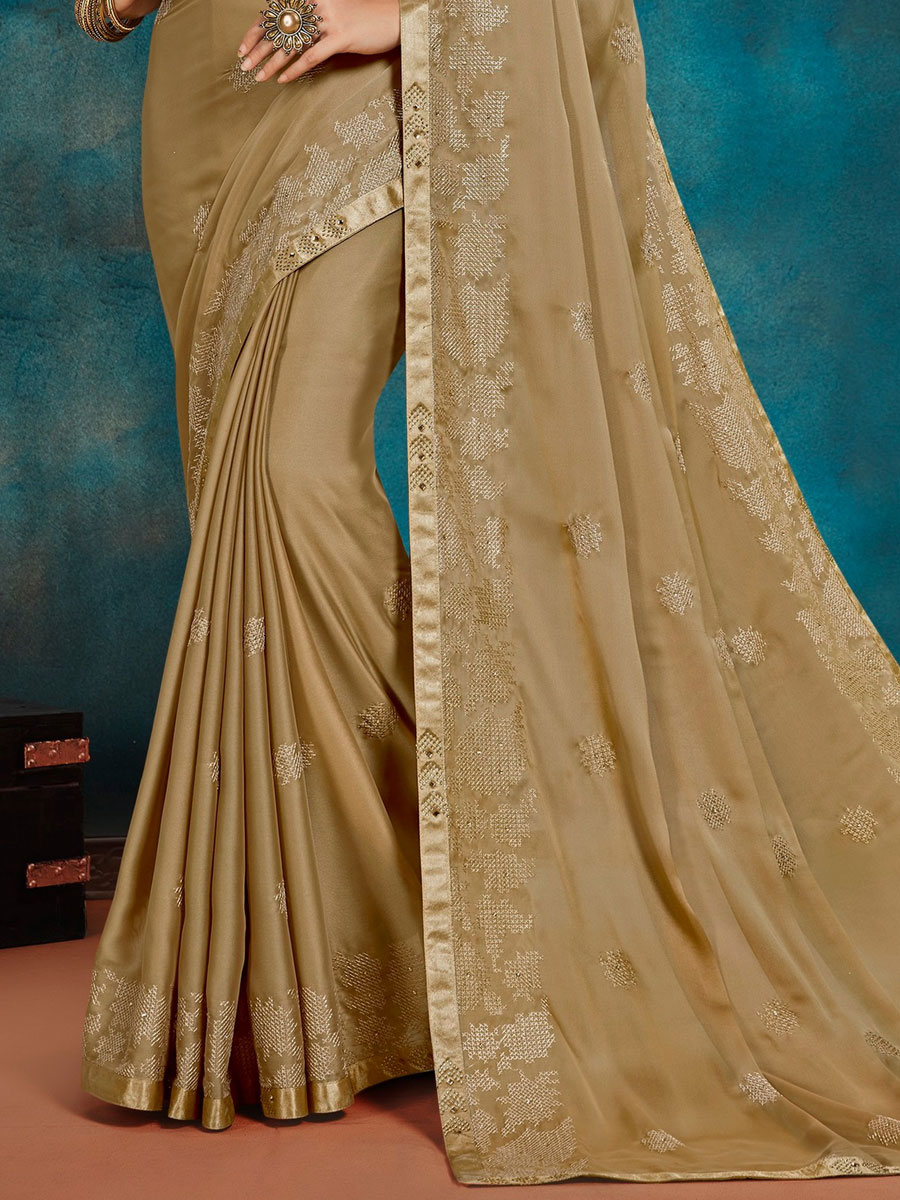 Beige Yellow Silk Embroidered Festival Saree