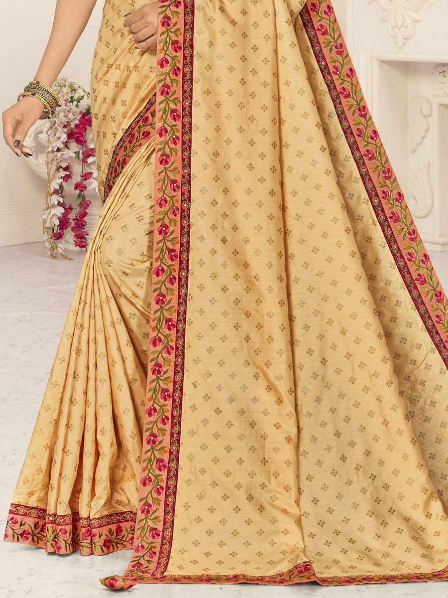 Beige Yellow Silk Embroidered Party Saree