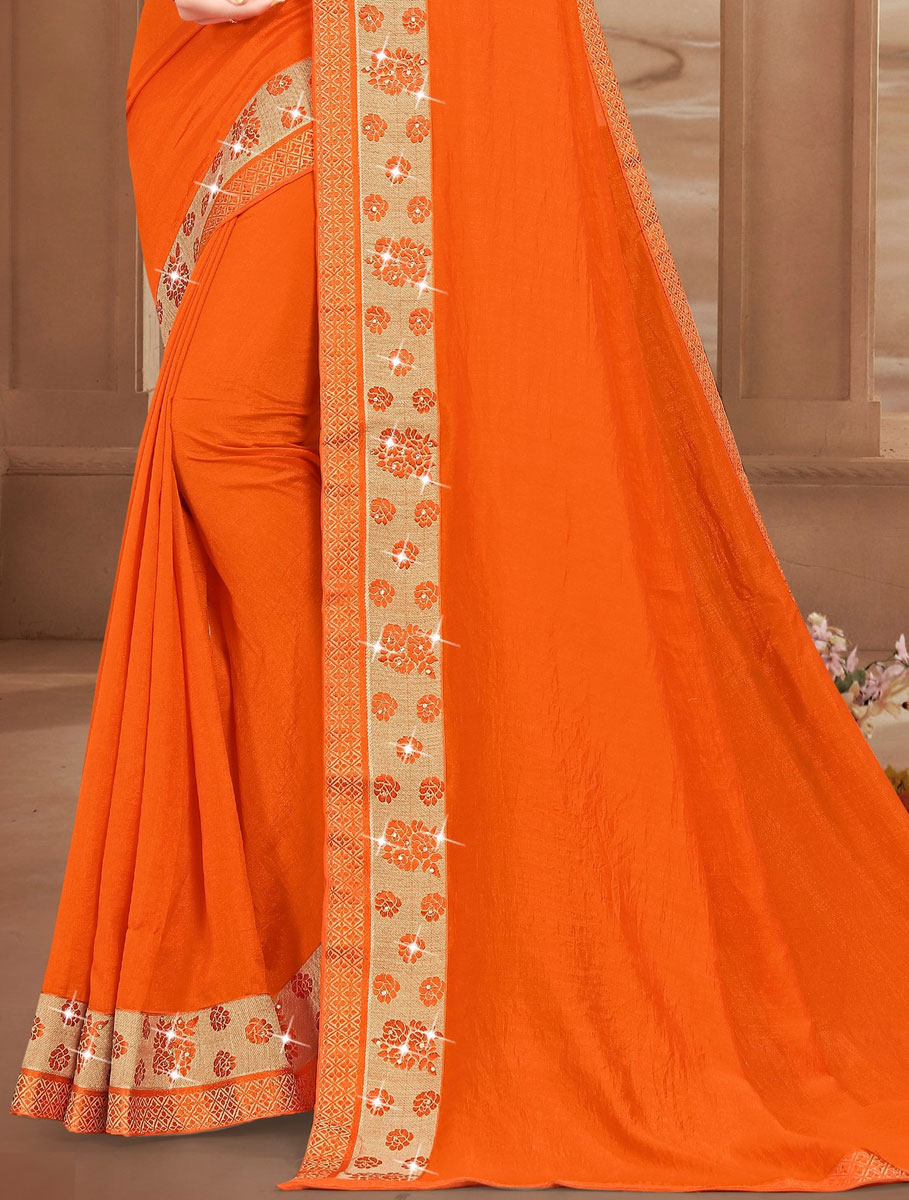 Portland Orange Vichitra Silk Plain Casual Saree