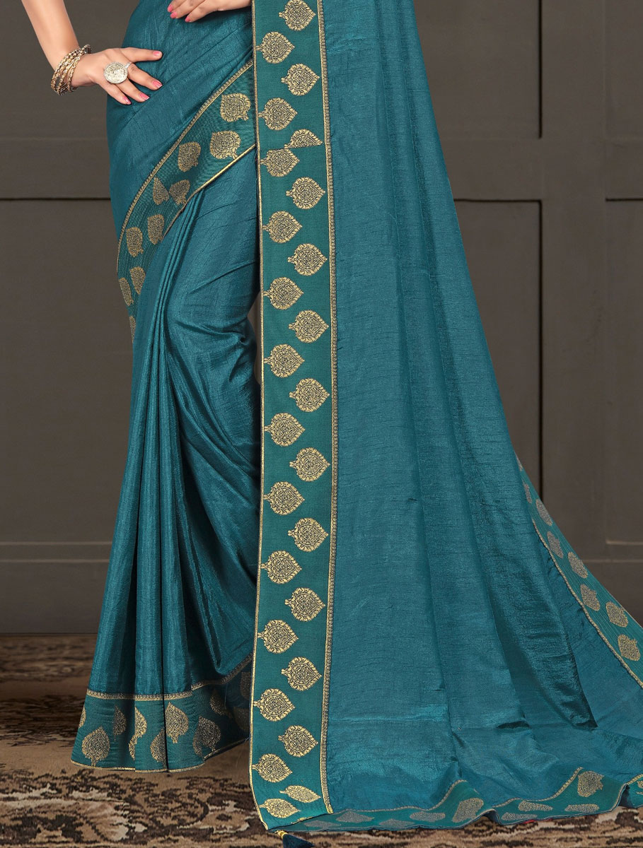 Teal Blue Vichitra Silk Plain Casual Saree