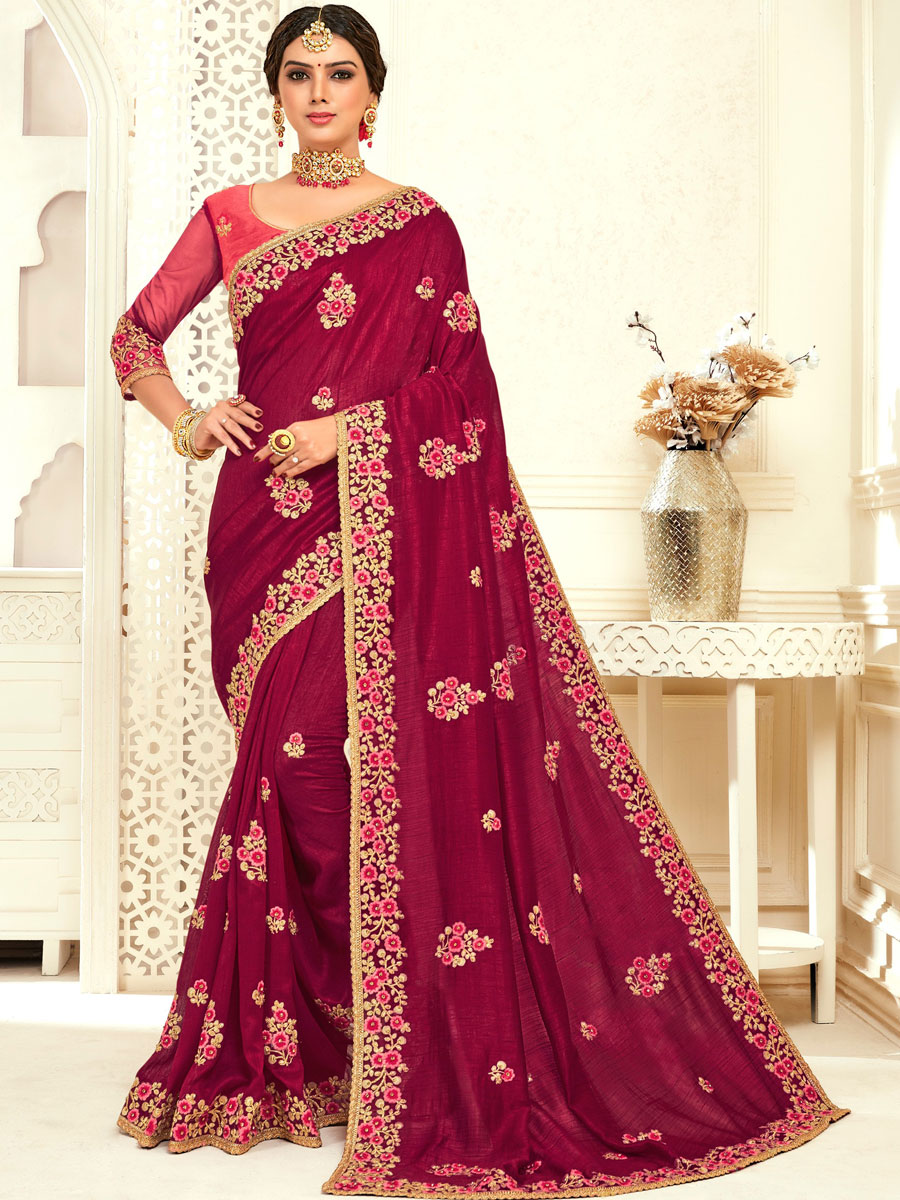 Burgundy Red Poly Silk Embroidered Party Saree