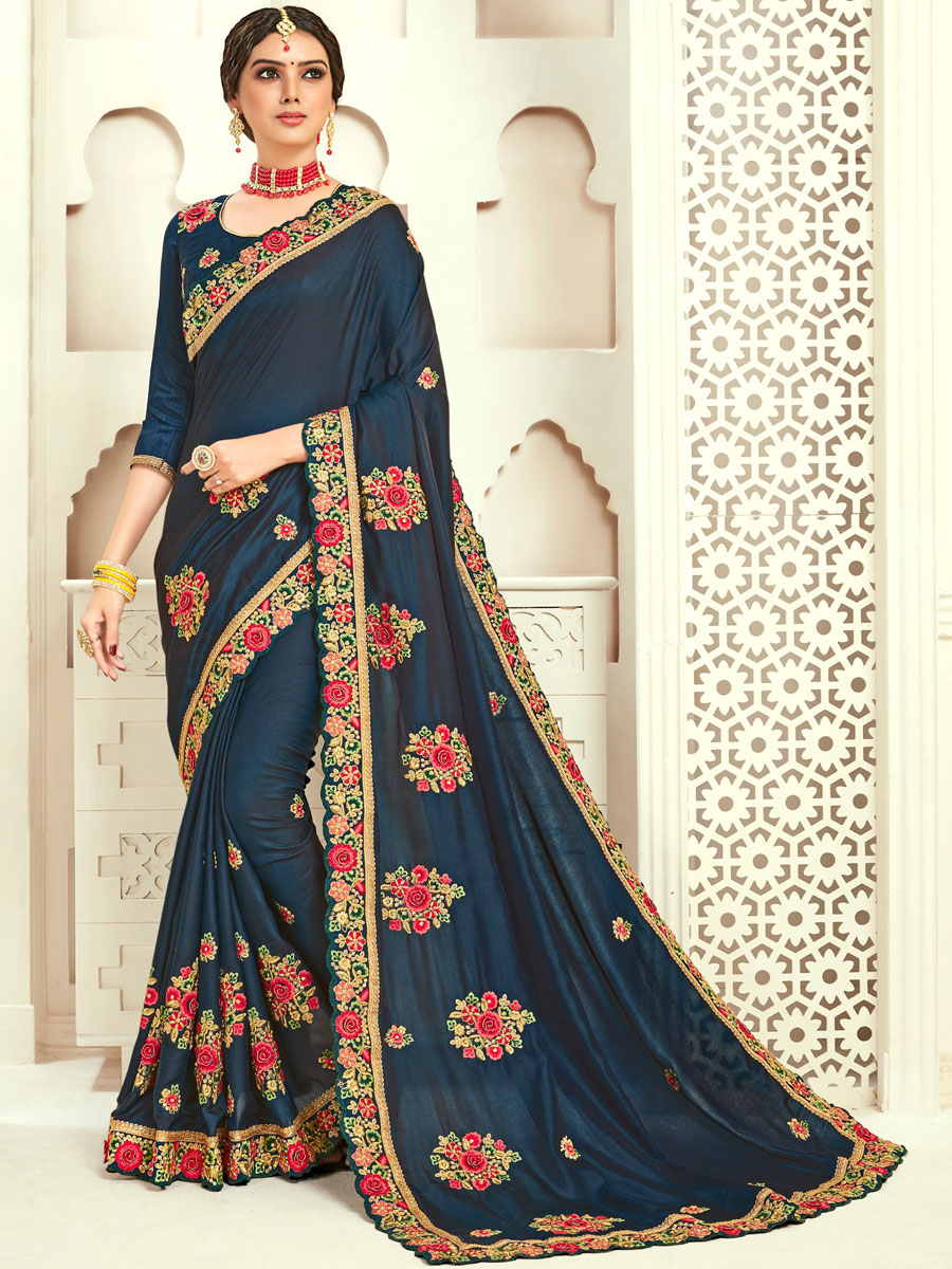 Navy Blue Poly Silk Embroidered Party Saree