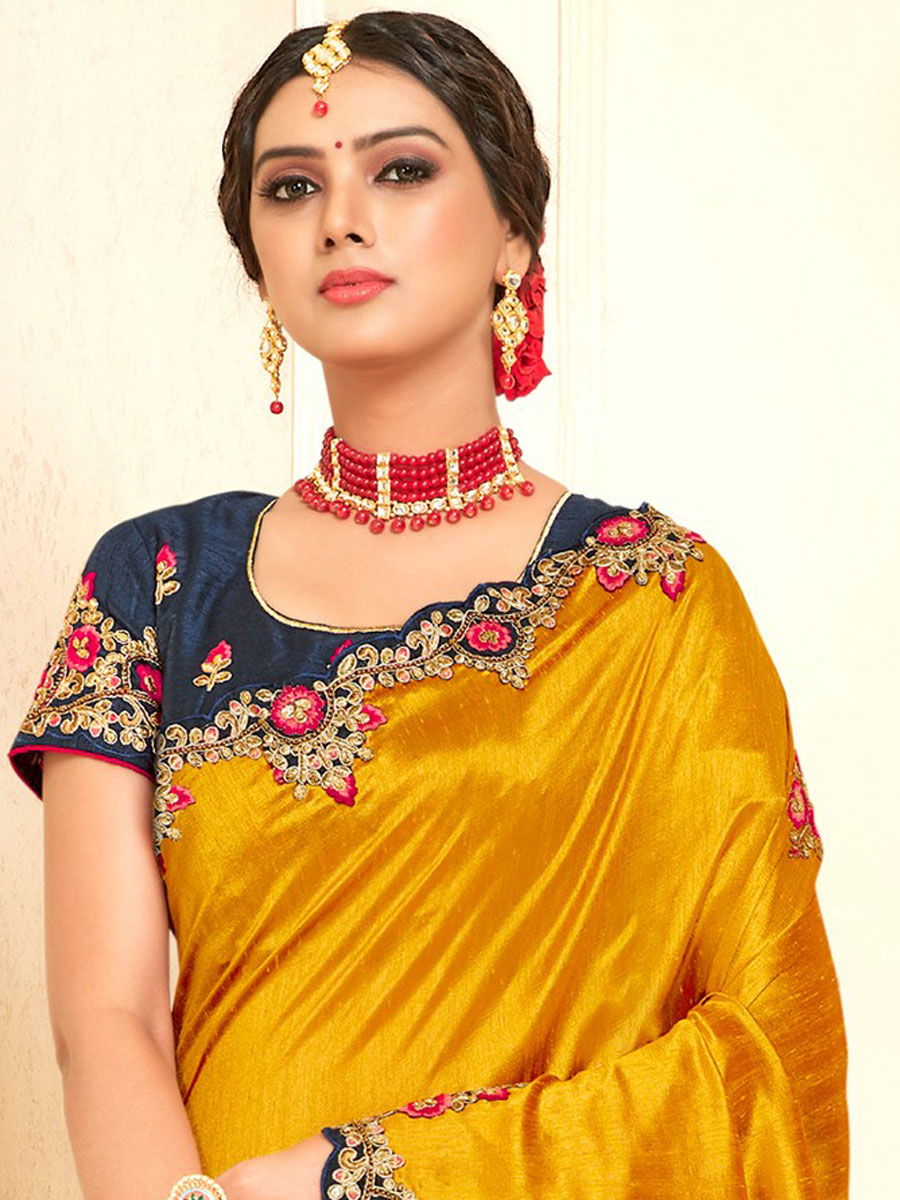 Mustard Yellow Poly Silk Embroidered Party Saree