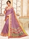Thulian Pink Cotton Printed Party Saree