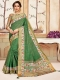 Forest Green Cotton Printed Party Saree