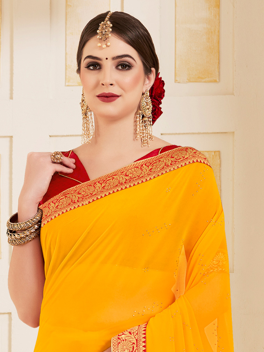 Amber Yellow Faux Georgette Designer Party Saree