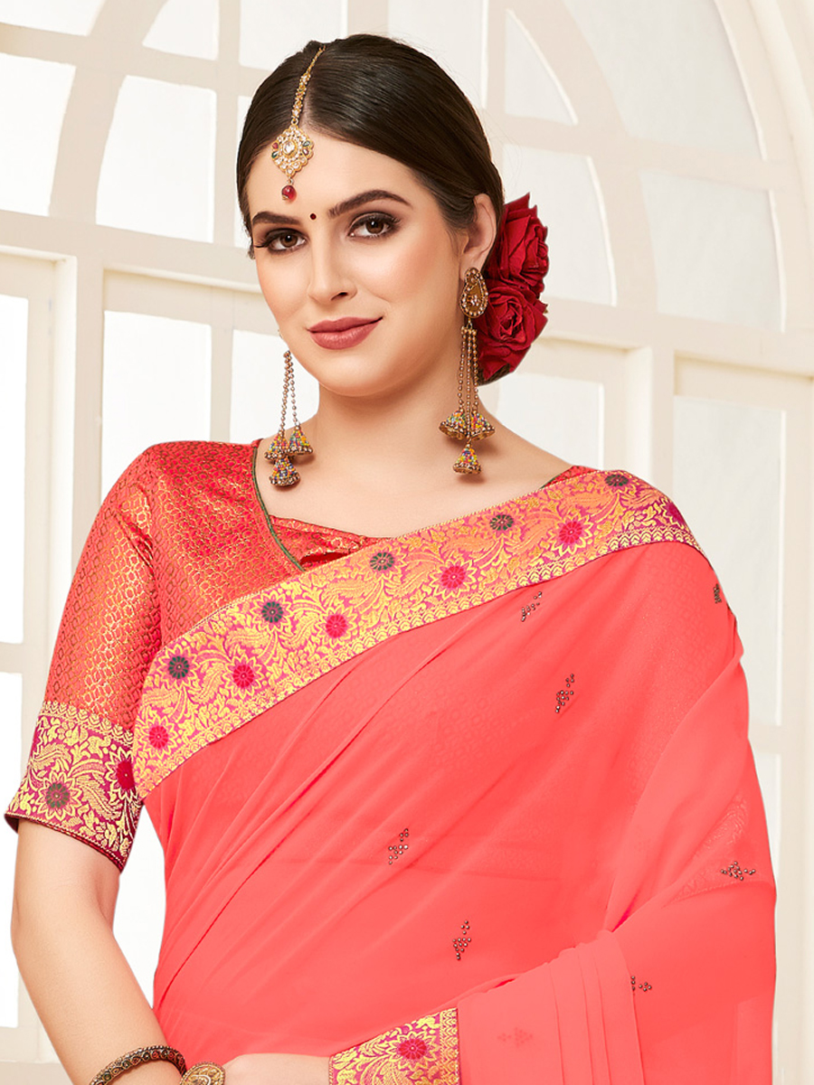 Carmine Pink Faux Georgette Designer Party Saree