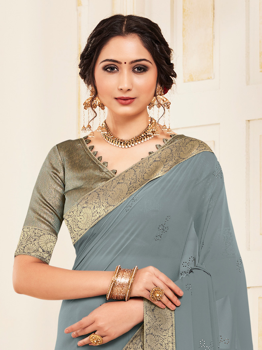 Gray Faux Georgette Designer Party Saree