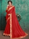 Venetian Red Faux Georgette Designer Party Saree