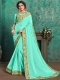 Light Persian Green Faux Georgette Designer Party Saree
