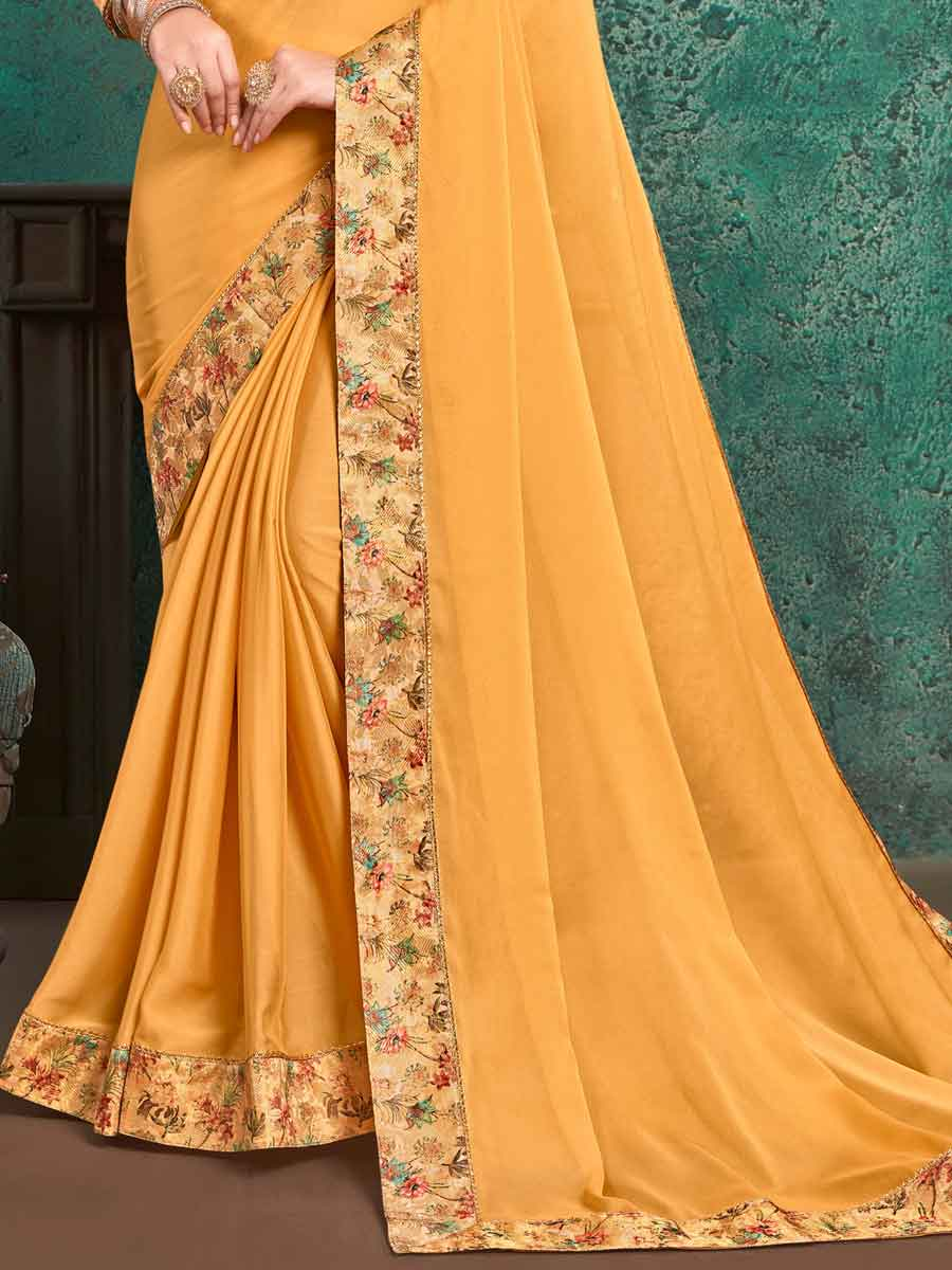 Mustard Yellow Faux Georgette Designer Party Saree