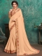 Peach-Orange Faux Georgette Designer Party Saree
