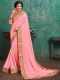 Salmon Pink Faux Georgette Designer Party Saree