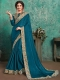 Midnight Blue Faux Georgette Designer Party Saree