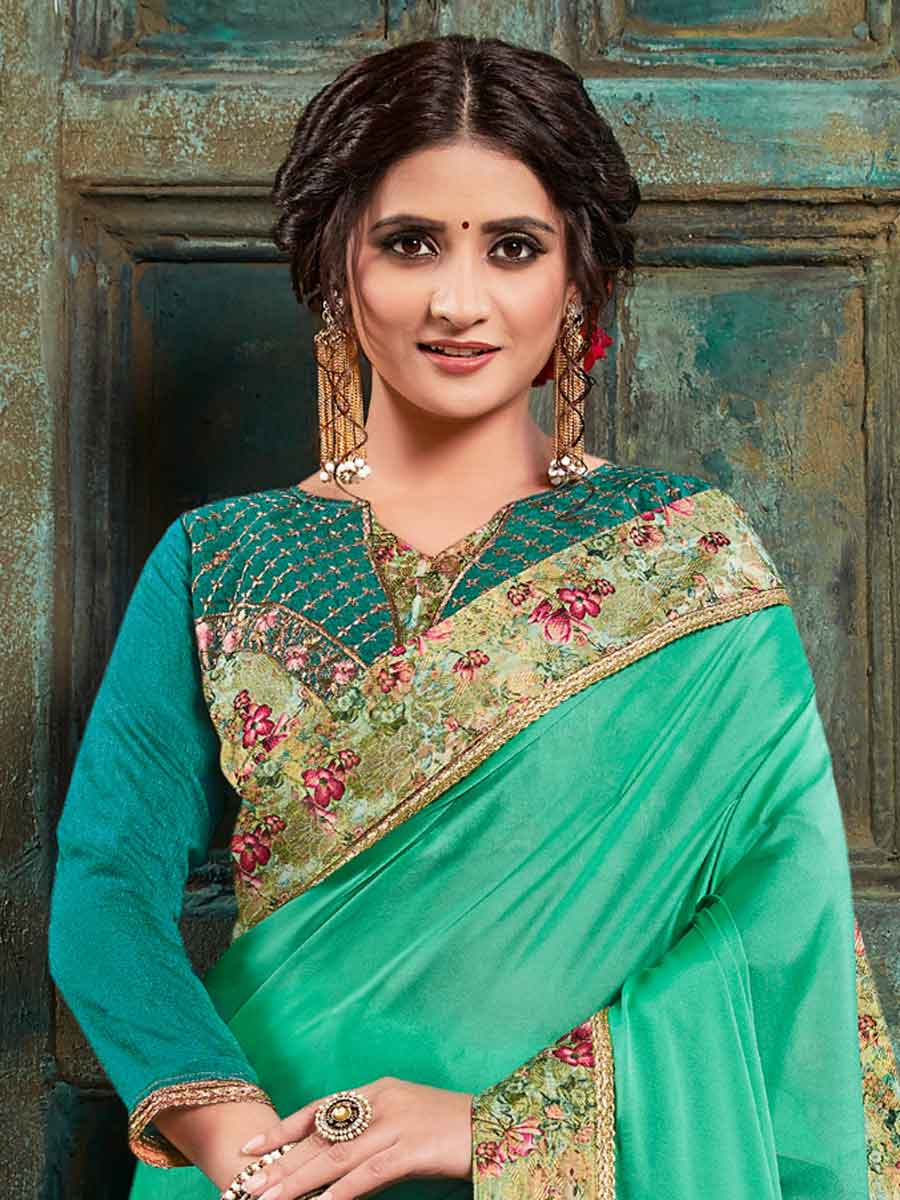 Jade Green Faux Georgette Designer Party Saree