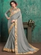 Slate Gray Faux Georgette Designer Party Saree