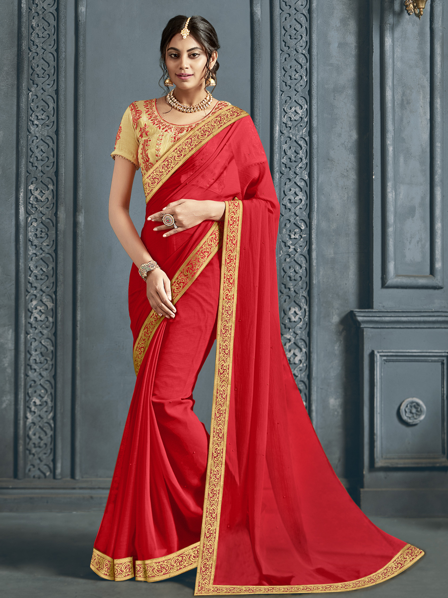 Vermilion Red Chiffon Designer Party Saree