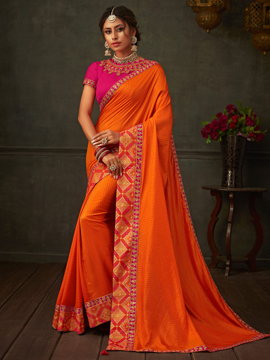 Orange-Red Silk Embroidered Party Saree