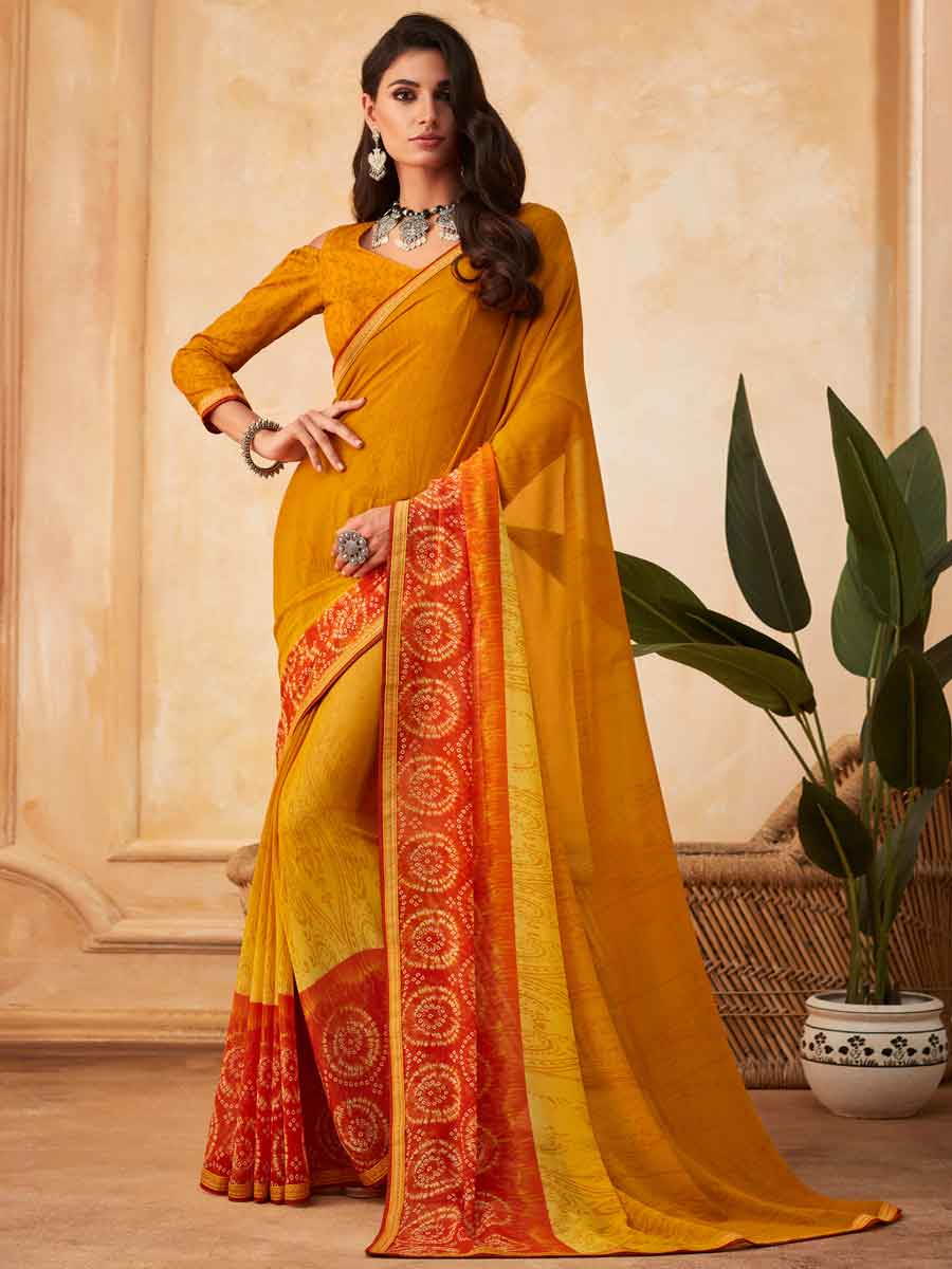 Gamboge Yellow Faux Georgette Printed Party Saree