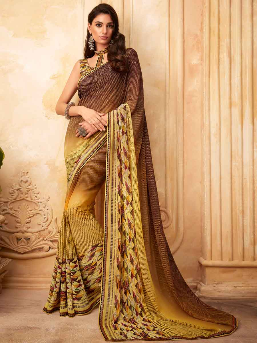 Flax Yellow and Auburn Brown Faux Georgette Printed Party Saree