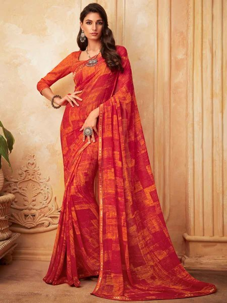 Vermilion Red Faux Georgette Printed Party Saree