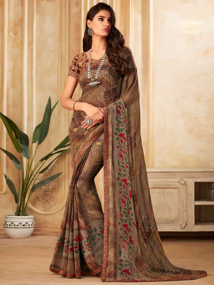 Light Raw Umber Brown Faux Georgette Printed Party Saree