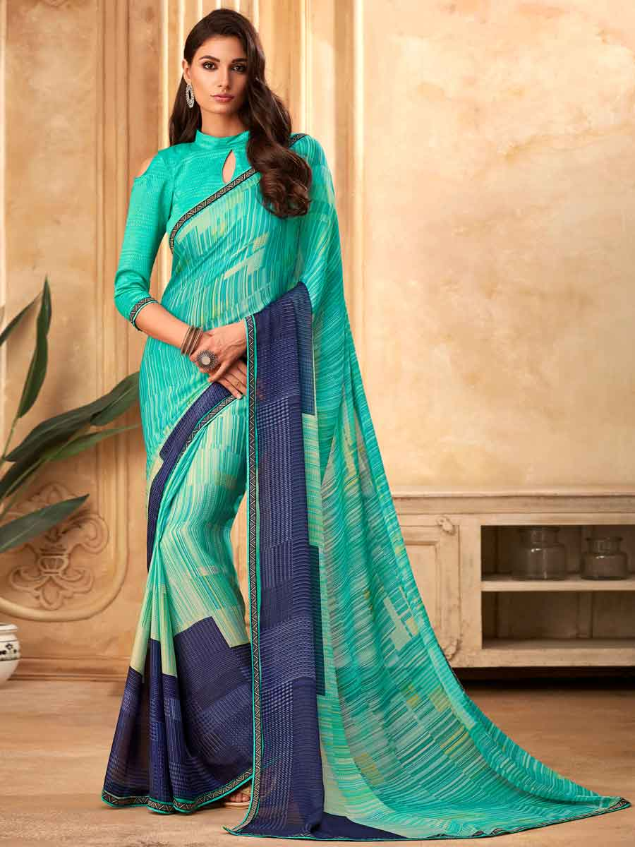 Turqouise Blue Faux Georgette Printed Party Saree