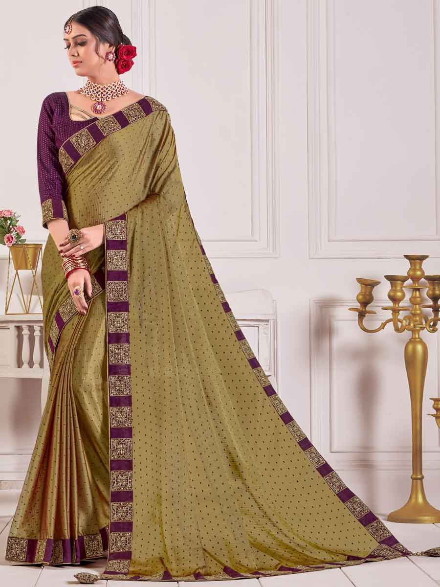 Olive Green Chiffon Embroidered Party Saree