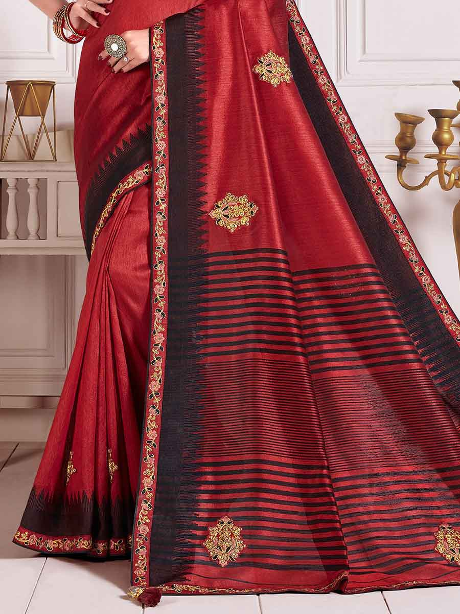 Venetian Red Poly Silk Embroidered Party Saree