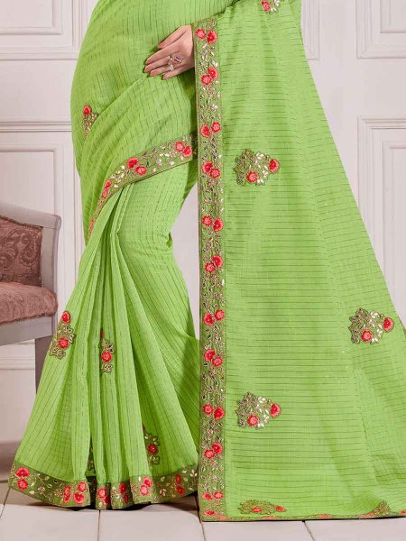 Yellow-Green Cotton Embroidered Party Saree