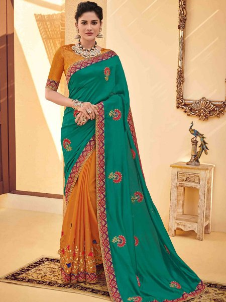 Pine Green and Ochre Brown Poly Silk Embroidered Party Saree
