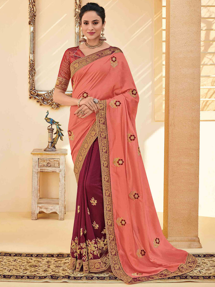 Coral Pink and Maroon Poly Silk Embroidered Party Saree