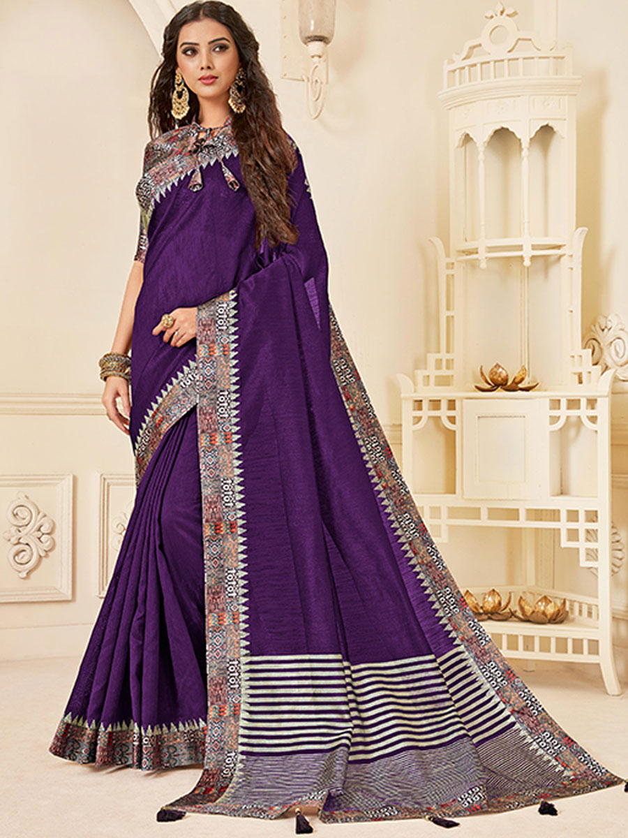 Persian-Indigo Violet Jute Silk Designer Party Saree
