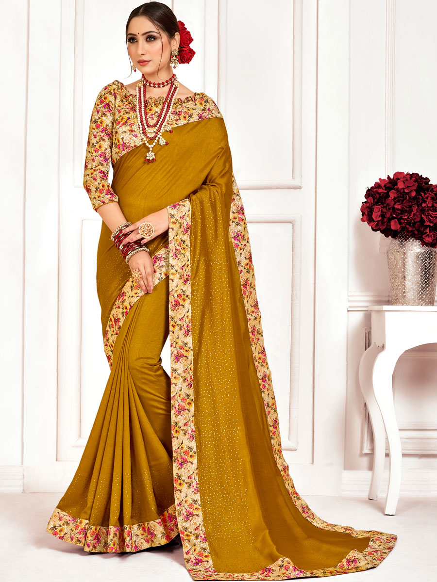 Olive Yellow Poly Silk Designer Party Saree