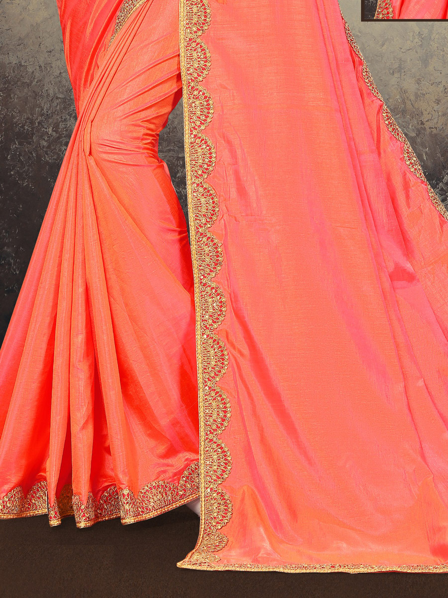 Carmine Pink Poly Silk Embroidered Party Saree