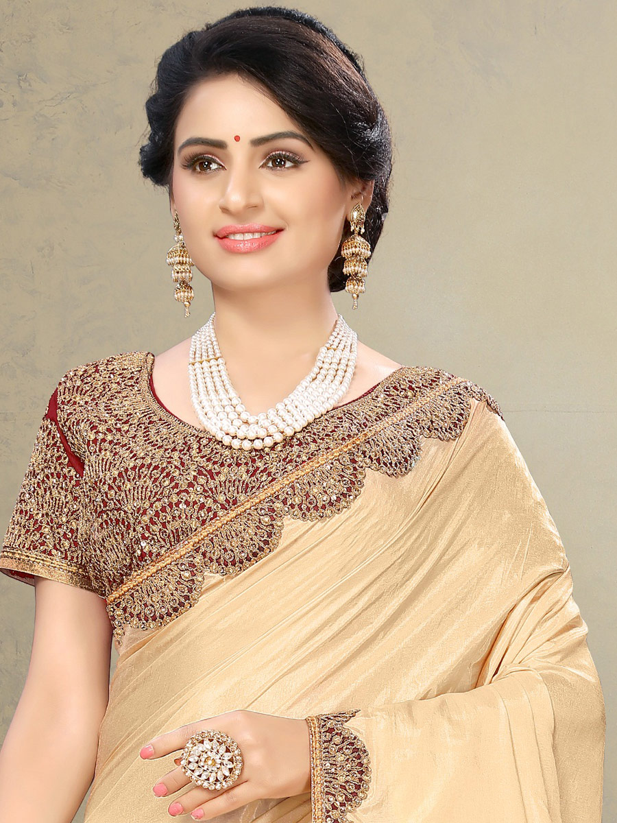 Beige Yellow Poly Silk Embroidered Party Saree