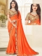 Portland Orange Poly Silk Embroidered Party Saree