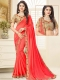 Crimson Red Poly Silk Embroidered Party Saree