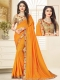 Gamboge Yellow Poly Silk Embroidered Party Saree