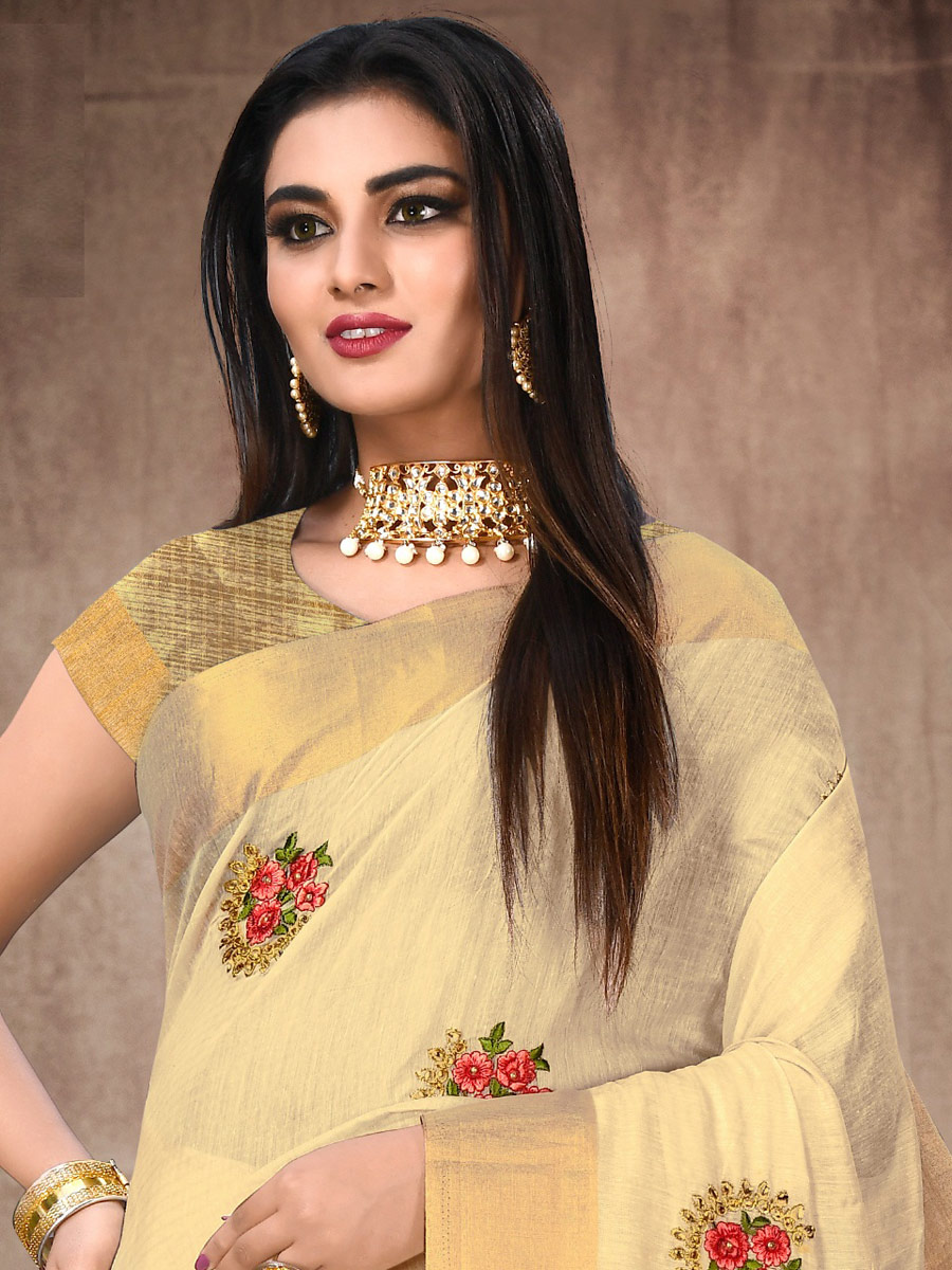 Beige Yellow Cotton Embroidered Party Saree