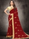 Maroon Poly Silk Embroidered Party Saree