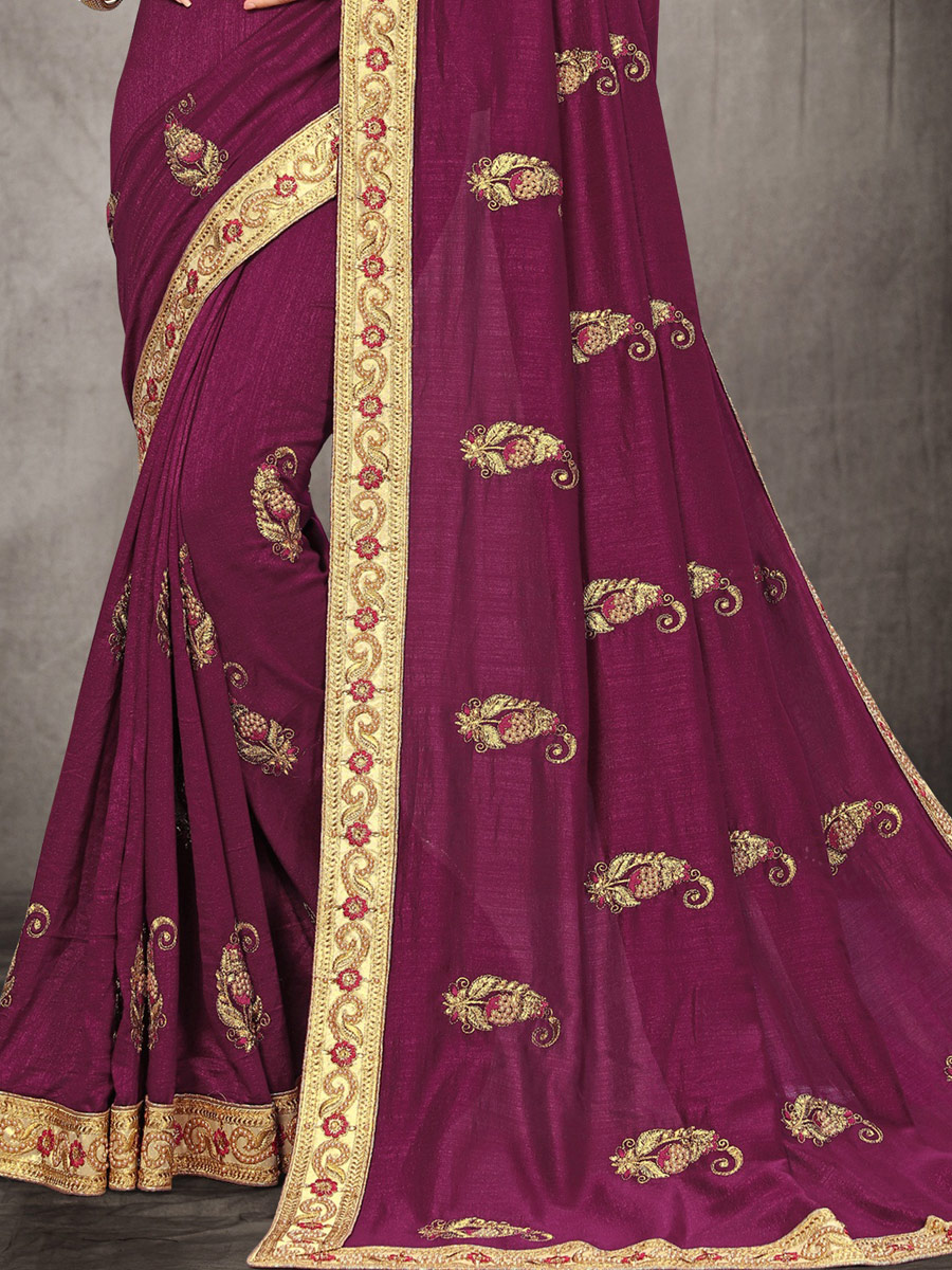 Byzantium Purple Poly Silk Embroidered Party Saree