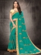 Persian Green Poly Silk Embroidered Party Saree