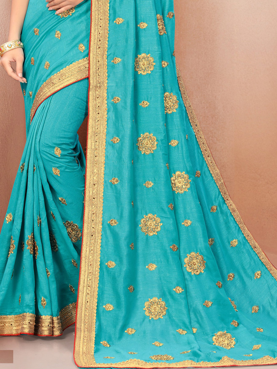 Deep Sky Blue Poly Silk Embroidered Party Saree