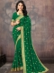 Dark Green Poly Silk Embroidered Party Saree