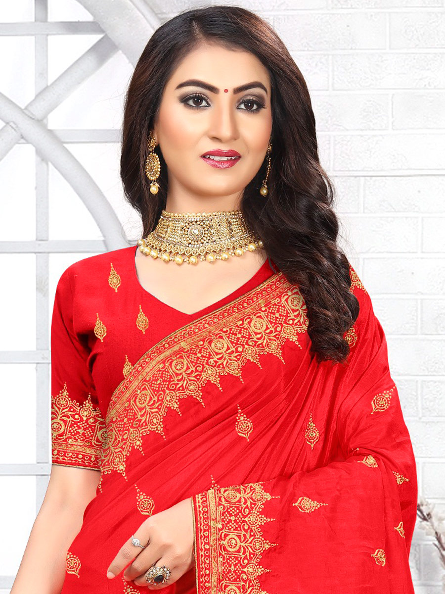 Vermilion Red Poly Silk Embroidered Party Saree
