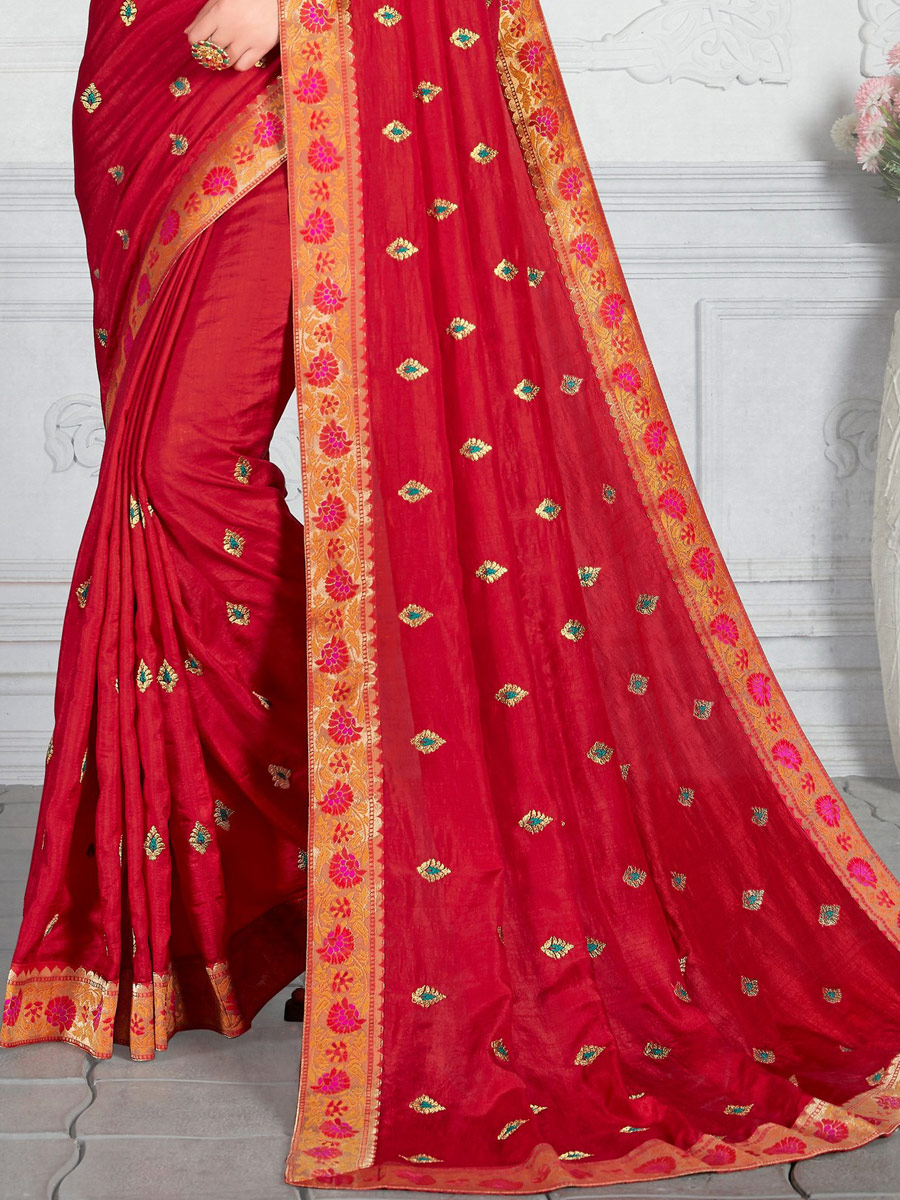 Venetian Red Poly Silk Embroidered Festival Saree